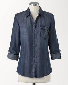 "♥♥♥♥Tencel® denim shirt - [K14239]  I would wear nothing but denim and chambray if I could - it's my daily ""uniform""!  This is fabulous!"