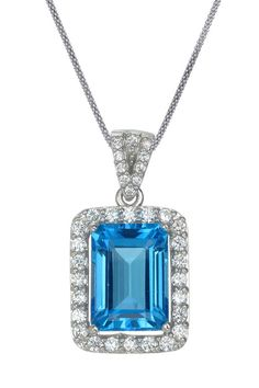 7ct Emerald Cut Blue Topaz Pendant in Sterling Silver # #Women #JewelryWatches #Pendants
