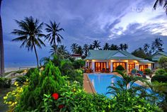 Stunning beachside luxury villa in Surat Thani, the City of Good People. It is a gateway to the islands of Thailand's Gulf Coast: Ko Samui, Ko Pha Ngan and Ko Tao. Thailand.