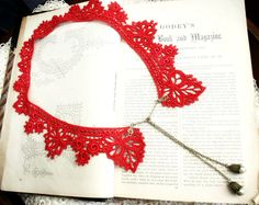 lace collar necklace JUSTINE red by tinaevarenee on Etsy, $36.00