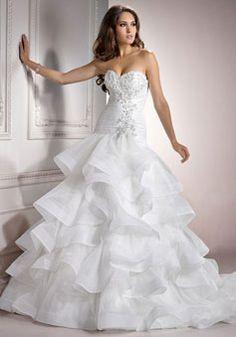 unique strapless a-line Sleeveless Ruffles Pleats Wedding Dress - Gopromdress.co.uk