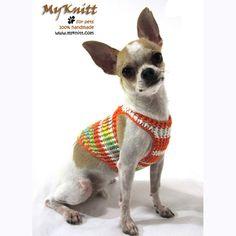 Cute Orange Boho Dog Harnesses Puppy Sweater Cat Collar walks Pet Clothing D Ring DH23