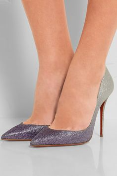 Heel measures approximately 100mm/ 4 inches Purple, silver and light-green glittered leather Slip on Made in Italy