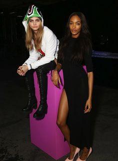 Cara Delevingne and Jourdan Dunn during London Fashion Week, Fall 2013