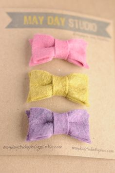 newborn baby girls bitty hair clip felt bow collection - sweet pea - snap clip set