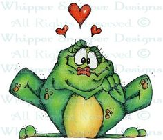 Frog in Love - Frogs - Animals - Rubber Stamps - Shop