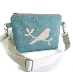 Hip Bag  Fanny Pack  Bird Applique  Convertible by peskycatdesigns