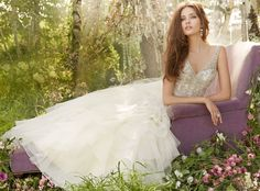 Ivory Organza Bridal Ball Gown, crystal embroidered beaded bodice, V-neck front and back, ruffle skirt, chapel train