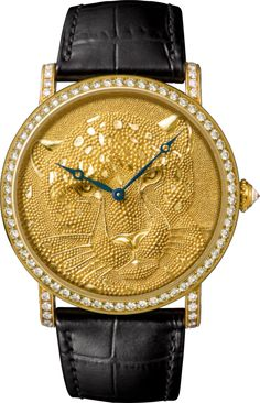 Cartier d'Art Rotonde de Cartier watch 42 mm, 18K yellow gold, leather, diamonds