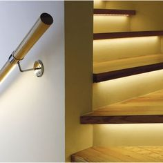 Automatic lighting systems for stairs - Automatic stair lighting. Stair lighting with motion sensors. Smart home - Interactive Home Stairway Lighting, Lighting System, Smart Home, Stairways, Door Handles, Shelves, Design, Home Decor, Staircases
