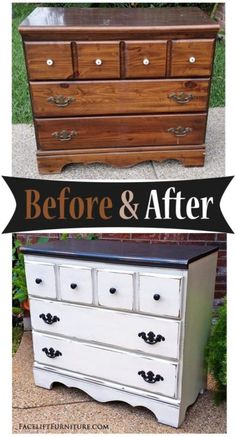 Dresser in Distressed Black & Off White Before & After Distressed Furniture Black Distressed Dresser White Distressed Bedroom Furniture, Repurposed Furniture, Shabby Chic Furniture, Rustic Furniture, Vintage Furniture, Painted Furniture, Diy Furniture, Furniture Stores, Furniture Websites