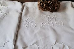 Antique french linen sheet large monogram by Feemainvintagestyle