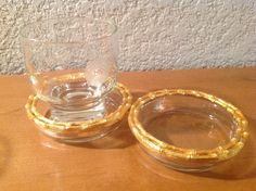 Pair of Gold Bamboo Coasters. on Etsy, $12.00