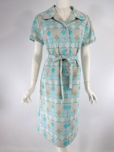 Vintage 70s Day Dress. Belted shirtwaist shift in aqua and taupe geometric print on white. lg by BeeDeeVintage, $25.00