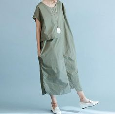 Summer Army green/ black Loose long dress