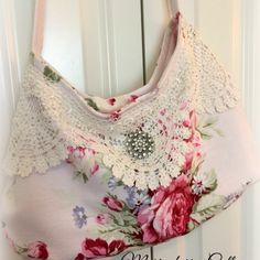 Shabby Pink roses barkcloth with vintage crochet slouchy boho handbag