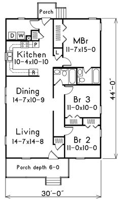 Traditional English Cottage House Plans 912 sq ft 24x38 | cabin floor plans | pinterest | cabin floor