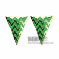 Green Stripe Triangle Earrings