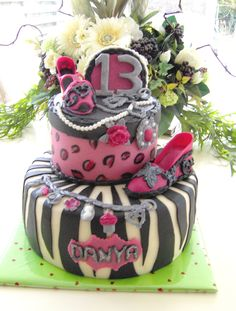leopard zebra birthday cake - on it there are shoes, necklaces,key holder,brancelet .