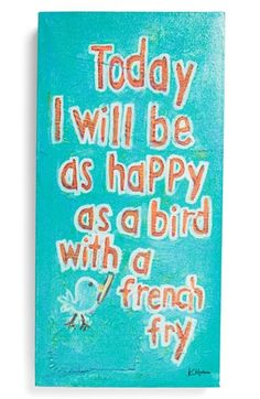 Creative Co-Op 'Happy as a Bird' Wall Art available at #Nordstrom  Wish for my bday...
