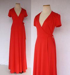 70s Classic Candy Apple Red Young Edwardian Disco Hippie Wrap Short Sleeve Floor Length Long Maxi Dress by TheThriftyBuddah, $35.00