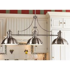 Shades of Light Period Pendant Island Chandelier -choice of finishes oiled-rubbed Bronze, Brushed nickel, Polished nickel good for traditional or industrial kitchens Frosted glass diffuser. Comes w/ 3 Modern Kitchen Lighting, Farmhouse Kitchen Lighting, Kitchen Island Lighting, Kitchen Lighting Fixtures, Kitchen Pendant Lighting, Cabinet Lighting, Kitchen Pendants, Light Fixtures, Industrial Kitchens