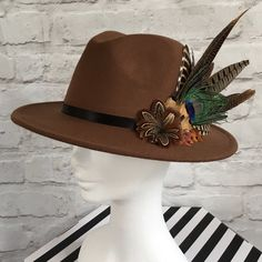 3618c3f0607acb Brown fedora, embellished with natural game bird feathers. Game BirdsLadies  HatsHats ...