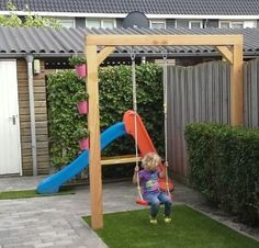 Pergola Kits With Canopy Backyard Swing Sets, Pergola Swing, Backyard Playground, Backyard For Kids, Pergola Kits, Back Gardens, Small Gardens, Dream Beach Houses, Outdoor Play