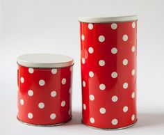 Polkadot Tin Canisters Red White USSR by SovietEra on Etsy, $17.00