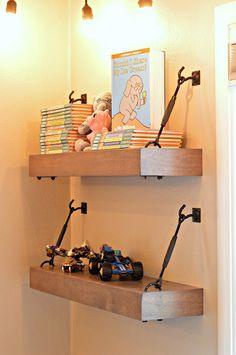 Industrial Floating Shelves; boys bedroom ideas