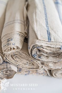 Miss Mustard Seed | Stacks and Rolls of Linen | Miss Mustard Seed share her recent European linen finds for the upcoming Lucketts Spring Market