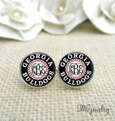 Monogram Earrings, University of Georgia Earrings, Georgia Bulldog Earrings, UGA Jewelry, UGA Earrings by LMGjewelry on Etsy