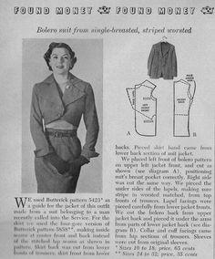Organized Clutter: Recycling a Man's Suit 1951 Woman's Day Magazine