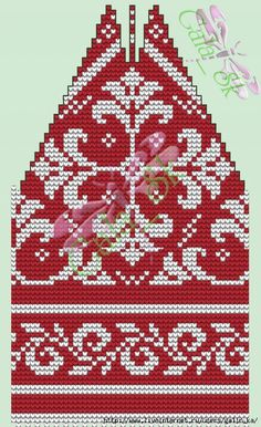 Kit - hat and gloves with ornament - Knitting - Country Mom Knitting Charts, Knitting Stitches, Hand Knitting, Knitting Patterns, Tapestry Crochet, Knit Crochet, Crochet Hats, Knit Mittens, Knitted Hats