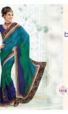 Poly Georgette Green & Blue Saree