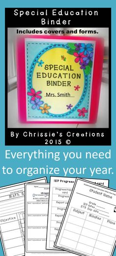 Special Education Binder: this is great for any Intervention Specialist. Several Binder covers, dividers, blanks and organizational forms. Great to organize yourself for Back to school.