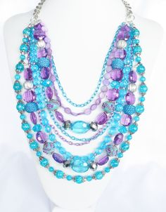 Chunky Blue and Purple Statement Necklace Purple Statement Necklace, Statement Necklaces, Beaded Jewelry, Jewelry Necklaces, Summer Necklace, Lovely Things, Jewelry Ideas, Jewlery, Beading