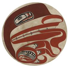 A Haida painted drumhead Robert Davidson, 1991, painted on hide, a series of totemic representations within a flowing formline composition, signed lower right, mounted and framed. diameter (sight) 19in