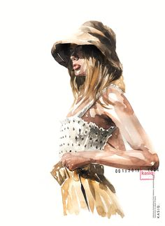 Kasiq Jungwoo on Behance Fashion Illustration Face, Illustration Mode, Illustrations, Watercolor Fashion, Fashion Painting, Dress Sketches, Fashion Sketches, Girl With Hat, Up Girl