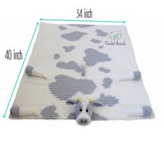 Cow Baby Blanket Crochet Pattern, Cuddle and Play Cow Blanket Toy Crochet Pattern, Crochet Baby Blanket Pattern, Crochet Cow Blanket PatternThe main long lasting blanket products switches roomy blankets within the crib for a safer environment; Crochet Cow, Crochet Motifs, Crochet Blanket Patterns, Knitting Patterns, Crochet Baby Blanket Beginner, Easy Baby Blanket, Baby Knitting, Baby Blankets, Beginner Crochet