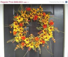 CHRISTMAS SALE Fall Wreath Fall Decor Sunny Days by ElegantWreath