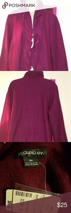 Claudia Ev Burgundy Cardigan Beautiful burgundy cardigan sweater by Claudia Ev (C.J. Banks). Boiled wool.  Long sleeves. Ruffles down the front. Cocoon style. Size 2X. I have another sweater like this in black. New with tag. Claudia Ev Sweaters Cardigans