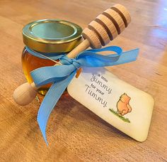 """""""A little Yummy for your Tummy"""" baby shower 4oz. Honey Pot with Honey Dipper and DIY Tag"""