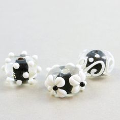 Lampwork Beads Black White Glass Beads Flower by NansGlamSupplies, $5.00