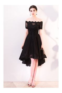 82320c59486 Black Lace Off Shoulder Homecoming Dress High Low with Sleeves -  71.1   MXL86060 - SheProm.com