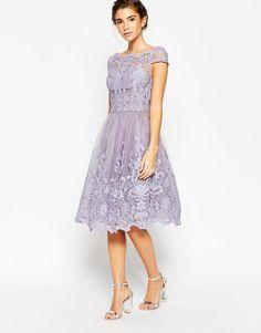 This would be perfect a wedding Chi Chi London | Chi Chi London Premium Lace Midi Prom Dress with Bardot Neck at ASOS