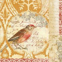 Vintage Bird Collage Background