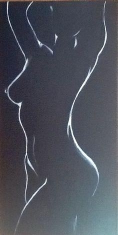 Clair obscur 7 Nu féminin - toile de coton noire 3 D - acrylique blanche : Peintures par magaline-arts