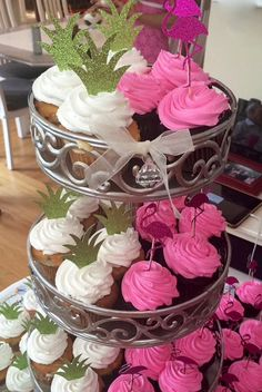 Pineapple & Flamingo Glitter Cupcake Toppers Luau Cupcake