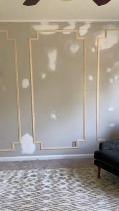 Home Room Design, Home Interior Design, House Design, Interior Walls, Accent Walls In Living Room, Living Room Decor, Living Room Panelling, Trim On Walls, Paneling Walls